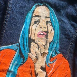 Hand painted Billie Eilish denim jean jacket